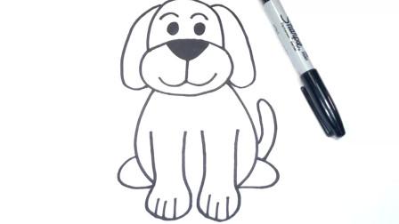 儿童简笔画;如何画一只狗一步一步动物图纸