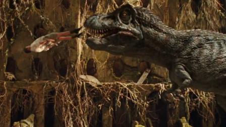 男子高高跃起踹向恐龙的嘴巴,被吃掉后又从后面出来,一部冒险电影