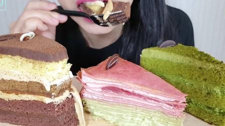 JU ASMR咀嚼音吃播 巧克力&绿茶蛋糕&草莓千层蛋糕(新)