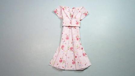 手工折纸教程,连衣裙的折法,漂亮又简单,女孩子超喜欢