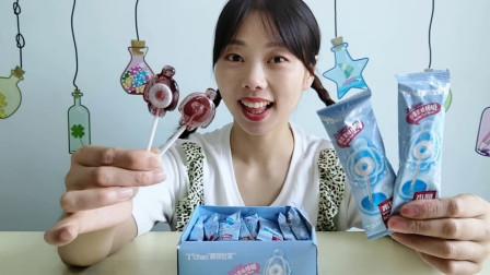 """妹子拆箱吃""""大白棒棒糖"""",趣味造型超可爱,百香果味好吃"""
