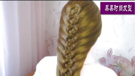 教你扎一款时尚发型,美发编发教程,一步一步扎发技巧