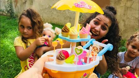 好美味!萌宝小萝莉最后买了什么口味的冰淇淋呢?趣味玩具故事