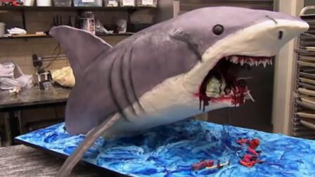 """顶级甜点师手艺有多恐怖?2小时制作""""鲨鱼蛋糕"""",成品太让人惊艳了"""