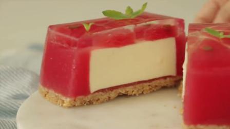 西瓜与芝士的完美结合,西瓜果冻芝士蛋糕