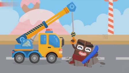 大吊车紧急出动营救掉进坑里的巧克力人!工程车总动员游戏