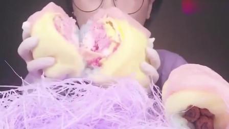 吃播-韩国大胃王美女吃棉花糖包冰淇淋,看着很好吃的样子