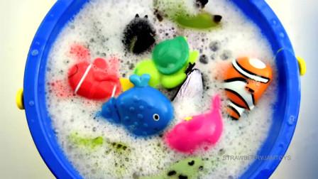 儿童海洋生物学习幼儿英语中的动物名称和单词儿童玩具视频