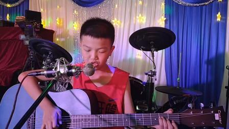彭政安同学学习吉他表演视频《兰花草》