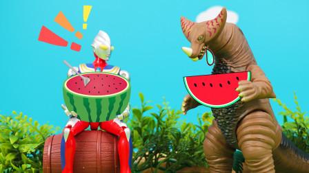 迪迦赛罗奥特曼与哥莫拉吃西瓜