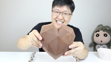 200颗德芙做一个大爱心巧克力,这大巧克力还第一次见,太有爱了