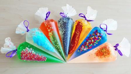 用裱花袋制作出解压的水晶泥