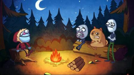 胖虎游戏:夜晚森林中遭遇烤火难,贱鬼脸用这种办法让火苗变旺