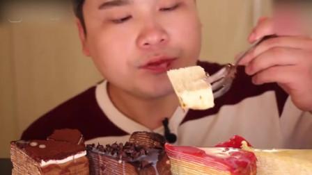 吃播大胃王胖哥,巧克力,芝士和彩虹千层蛋糕,看这这么多蛋糕都感觉腻得慌
