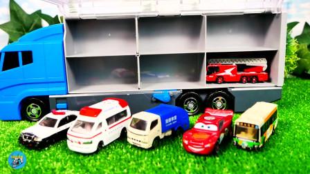 大箱车搬运小汽车清洁车消防车展示,儿童玩具亲子互动,悠悠玩具城