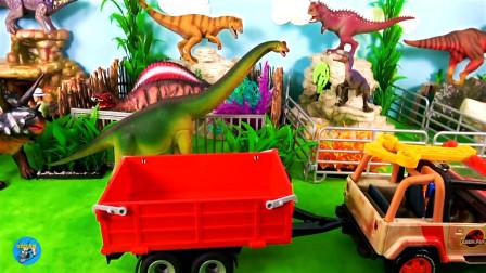 恐龙园,假山花草树木,饲养员骑在三角龙山上,红色拖车车厢运来好多恐龙棘龙,路恐龙,战列舰,儿童玩具亲子互动