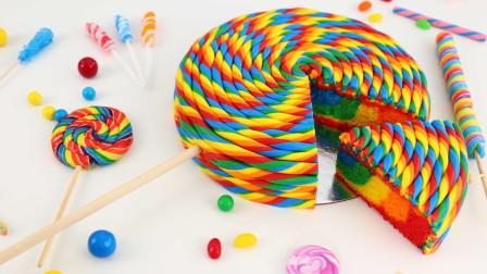 """超漂亮的彩虹棒棒糖蛋糕,切开就会出现""""彩虹"""",太有创意了"""