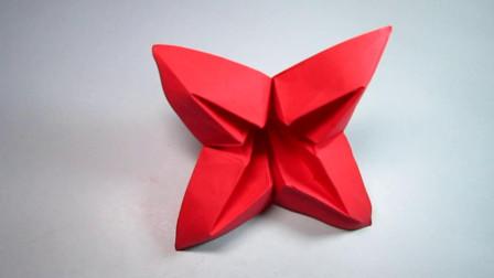 手工折纸花朵,简单又漂亮的四瓣小红花,值得学习