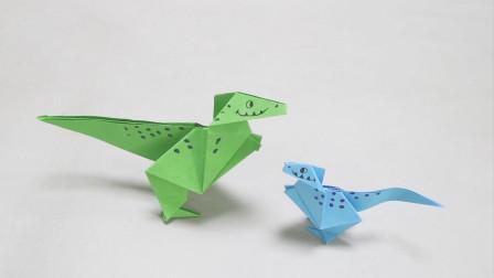 站着的小恐龙,用一张纸折出来的,关键是做起来也挺简单