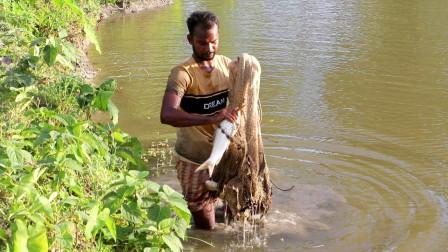印度男子出来捕鱼,抛一网下去,看看他捕获了多少?