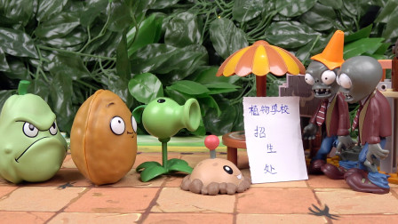植物大战僵尸玩具:土豆地雷来植物学校面试 结果被僵尸赶走了
