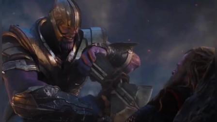 复仇者联盟4:美国队长高光时刻,左手盾,右手锤,锤爆灭霸!