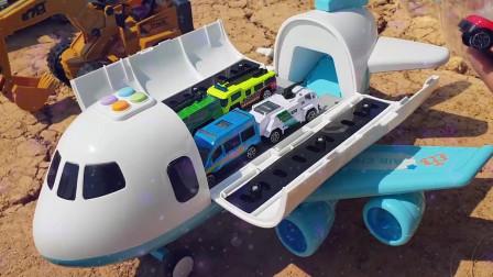 12吉普车工程搅拌车挖掘机拆箱儿童益智玩具故事挖掘机挖土机工程车工作视频