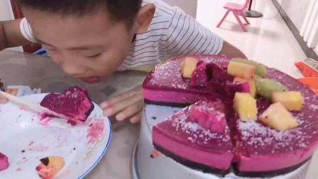 火龙果慕斯蛋糕简单操作,孩子爱吃