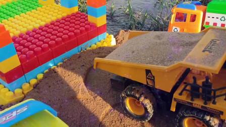 15挖掘机挖沙子工程卡车运输挖掘机挖土机工程车工作视频