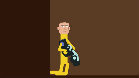 搞笑动画:众人赤手空拳唯独楞子拿枪,实力坑自己,激斗火柴人