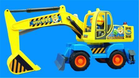 小企鹅PORORO的挖土机工程车儿童玩具