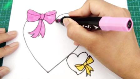 手绘教程之蝴蝶结心形边框的画法,学画画入门手账用花边,快收好
