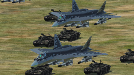 10架苏57,配合100辆T90坦克抢滩登入!遭遇20架F22拦截!谁能获胜?战争模拟