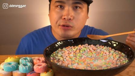 """韩国donkey吃播:""""彩虹糖果+彩虹甜甜圈+牛奶"""",这吃法真特别啊"""