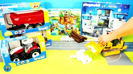 惯性玩具车,黄色装车红色四轮拖车,叉车火车,小房屋,儿童玩具亲子互动