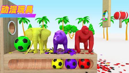 好神奇!动物园里的大象、狮子、大猩猩、狗熊竟然藏在彩色足球里,它们在干什么?