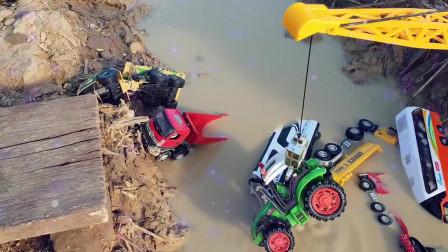 25挖掘机儿童视频。组装挖掘机、大卡车,水里的工程车掘机工作视频挖土机挖土工作视频