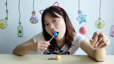"""美食拆箱,小姐姐吃""""舔不完的棒棒糖"""",不同颜色香甜味美超喜欢"""