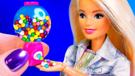 6个迷你芭比小物件,精致可口的零食,不要和芭比争夺哦。