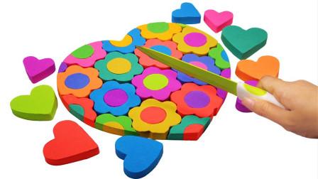 太空沙百变创意 DIY制作彩色花朵爱心蛋糕 美出了天际
