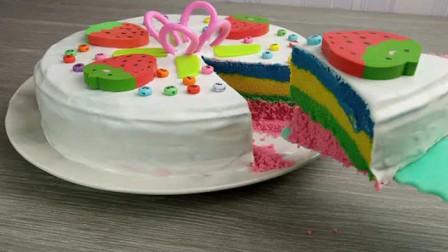 创意动画,趣味定格烹饪彩虹蛋糕,果真脑洞大开!
