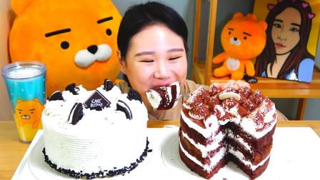韩国大胃王卡妹,试吃两个奶油巧克力蛋糕,大口大口吃的真过瘾