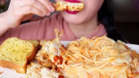 大胃王:小姐姐今天吃奶油味的面和炸脆皮虾!好香呀