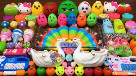 彩虹泥+水果+冰淇淋+扭蛋+KT猫+50多种无硼砂材料做史莱姆