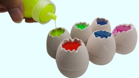 太空沙和水晶泥创意新玩法 DIY制作五颜六色的鸡蛋 太好玩了