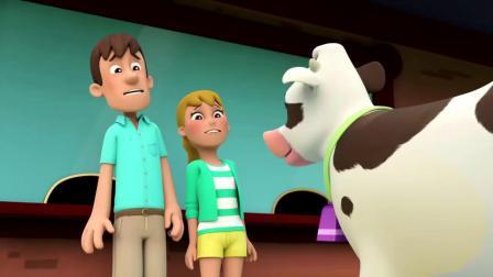 汪汪队立大功:农夫阿尔追不上自己的牛,莱德和阿奇来帮他赶牛!