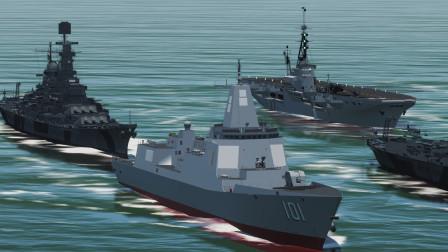 1艘055驱逐舰回到二战,遭到航母编队攻击!055能战胜对方吗?战争模拟