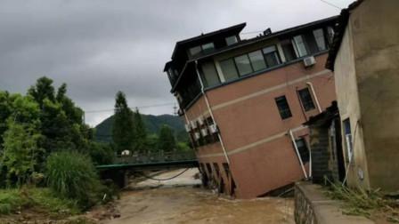暴雨夜杭州一夫妻两次死里逃生:房子倾斜,车子被冲走