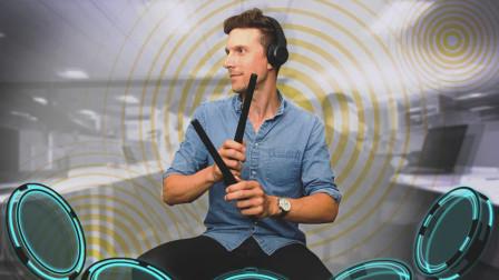 虚拟打鼓来了,用棍子敲敲空气,就能发出响声