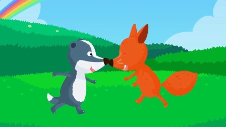 这道彩虹就像彩虹项链一样美丽,狐狸和獾很感兴趣
